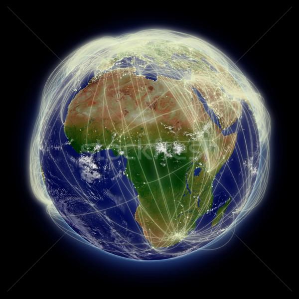 Sieci Afryki lotu niebieski planety Ziemi odizolowany Zdjęcia stock © Harlekino