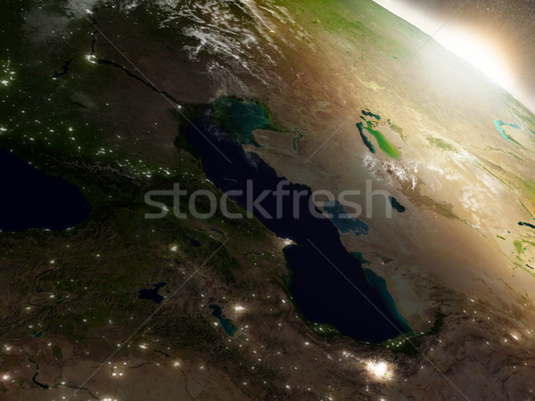 Zonsopgang kaukasus regio ruimte 3d illustration Stockfoto © Harlekino