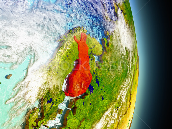 フィンランド 赤 スペース モデル 軌道 3次元の図 ストックフォト © Harlekino