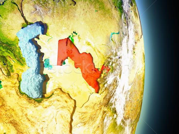 Узбекистан красный пространстве модель орбита 3d иллюстрации Сток-фото © Harlekino