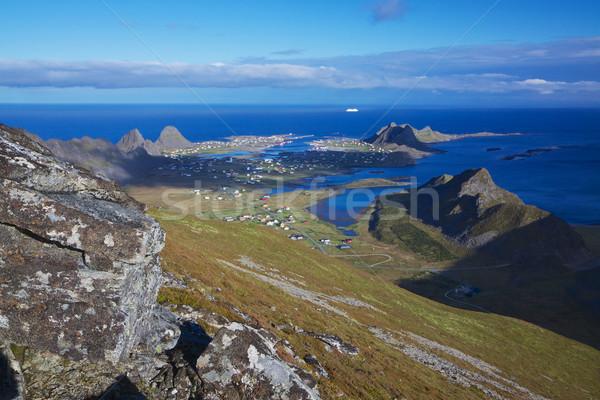 острове живописный рыбалки города Норвегия Сток-фото © Harlekino