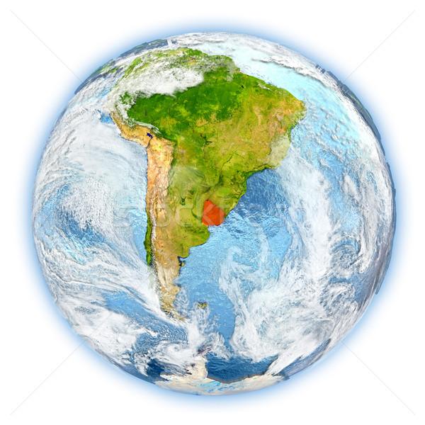 Uruguay toprak yalıtılmış kırmızı dünya gezegeni 3d illustration Stok fotoğraf © Harlekino