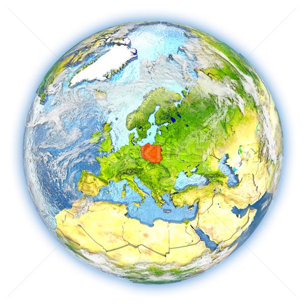 Polen Erde isoliert rot Planeten Erde 3D-Darstellung Stock foto © Harlekino