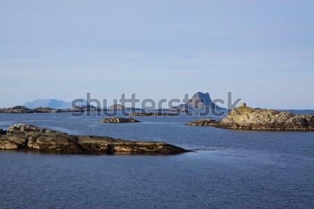 Norvég part napos nyár nap tájkép Stock fotó © Harlekino