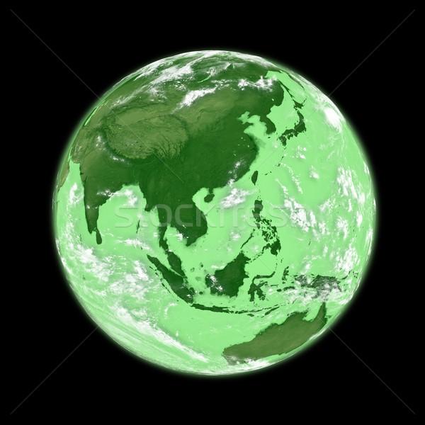 Sud-est asiatico verde terra pianeta terra isolato nero Foto d'archivio © Harlekino