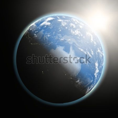 Sun over Pacific Ocean on planet Earth Stock photo © Harlekino