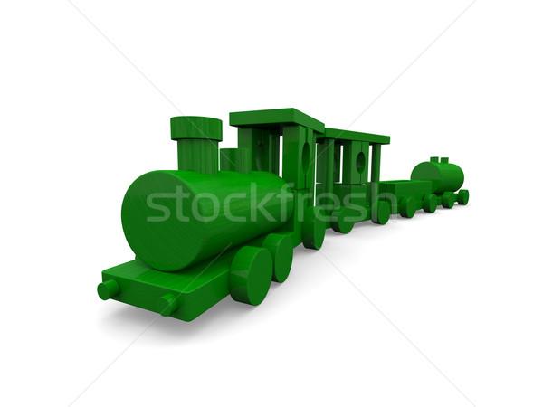Foto stock: Brinquedo · de · madeira · trem · pequeno · verde · brinquedo · isolado