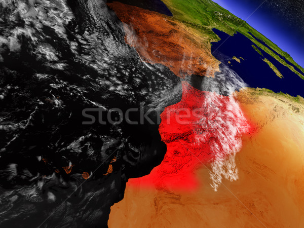Stock photo: Morocco from space highlighted in red