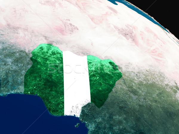 Banderą Nigeria przestrzeni orbita 3d ilustracji wysoko Zdjęcia stock © Harlekino