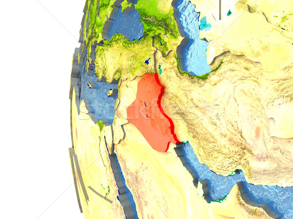 Iraque vermelho globo oceano ilustração 3d Foto stock © Harlekino