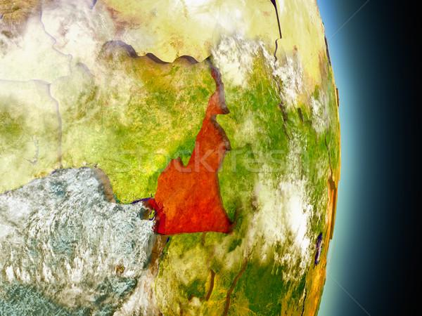 Kamerun czerwony przestrzeni model orbita 3d ilustracji Zdjęcia stock © Harlekino