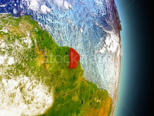 French Guiana in red from space Stock photo © Harlekino