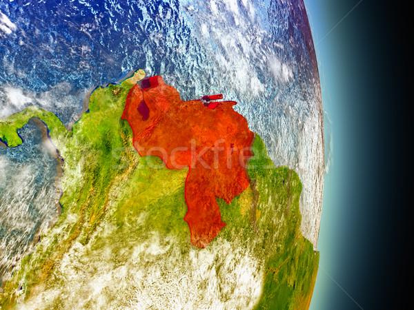 Venezuela in red from space Stock photo © Harlekino