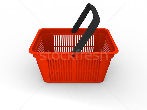 корзина 3d иллюстрации пусто красный пластиковых торговых Сток-фото © Harlekino