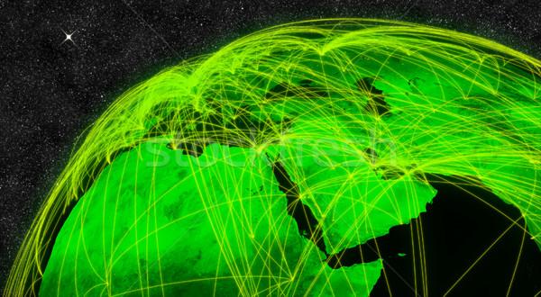 Midden oosten netwerk communie afbeelding wolken Stockfoto © Harlekino