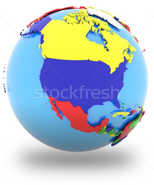 North America on the globe Stock photo © Harlekino