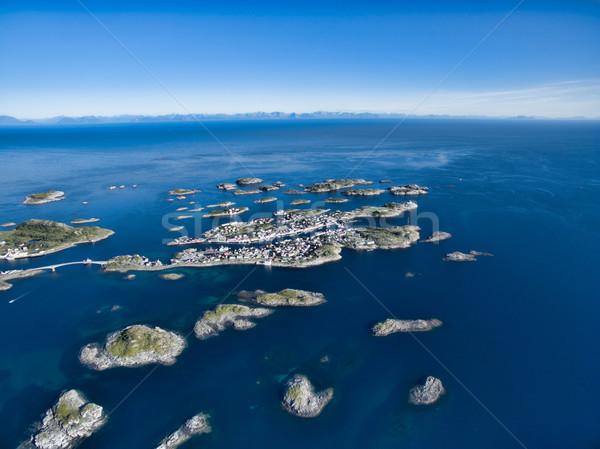 Noorwegen luchtfoto pittoreske vissen haven klein Stockfoto © Harlekino