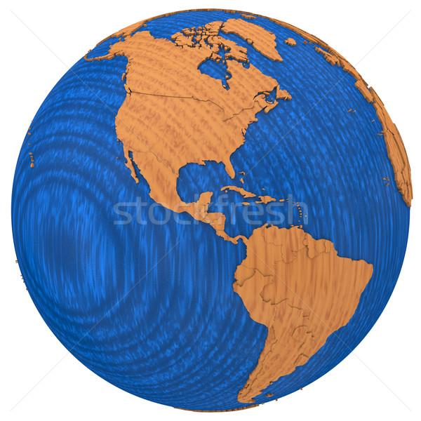 Americas on wooden Earth Stock photo © Harlekino