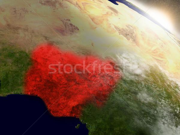 Nijerya uzay kırmızı yörünge 3d illustration Stok fotoğraf © Harlekino