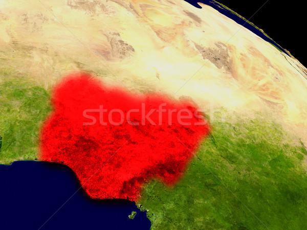Nigéria espaço vermelho ilustração 3d detalhado Foto stock © Harlekino