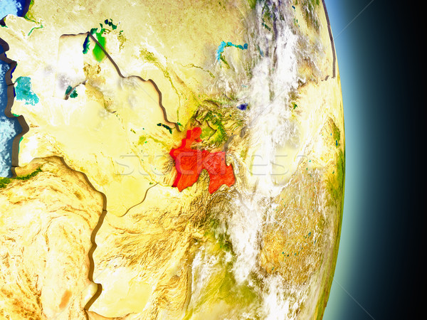 Tajikistan in red from space Stock photo © Harlekino