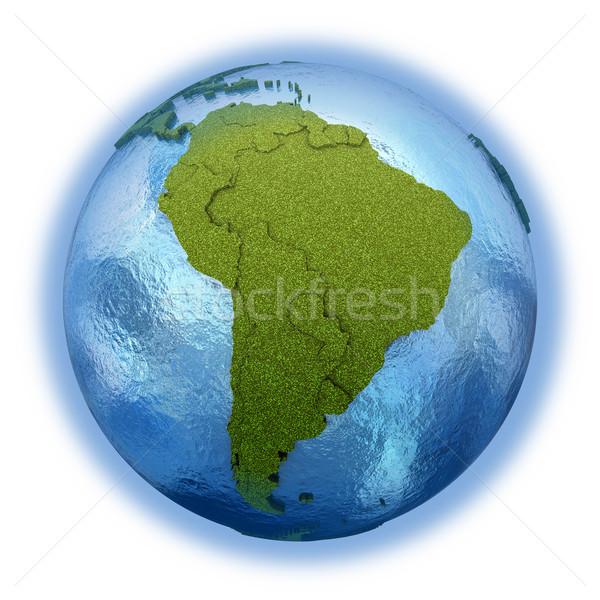 Güney amerika dünya gezegeni 3D model çimenli kıtalar Stok fotoğraf © Harlekino