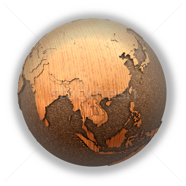 Southeast Asia on wooden planet Earth Stock photo © Harlekino