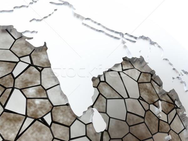 India áttetsző Föld fémes modell Föld Stock fotó © Harlekino