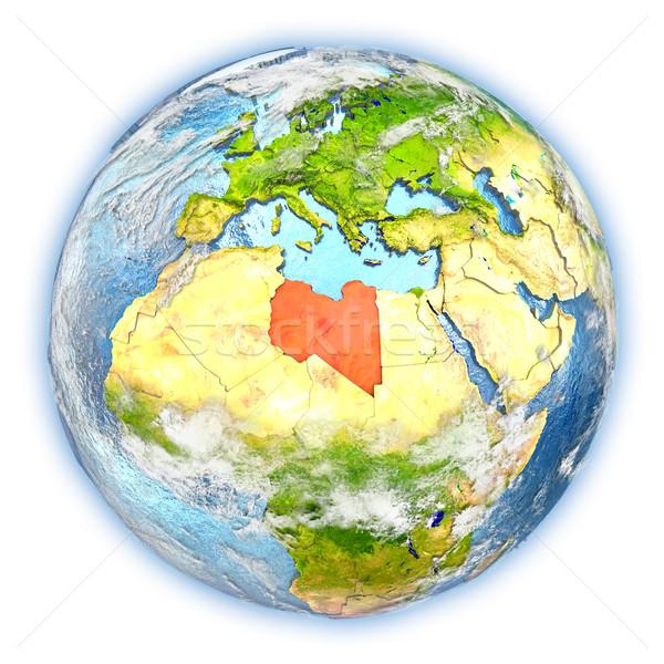 Libia ziemi odizolowany czerwony planety Ziemi 3d ilustracji Zdjęcia stock © Harlekino