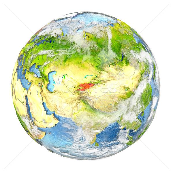 Kırgızistan toprak yalıtılmış kırmızı dünya gezegeni 3d illustration Stok fotoğraf © Harlekino
