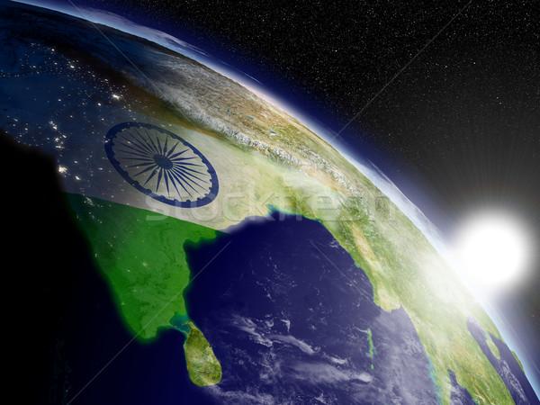 Sunrise Inde pavillon sous-continent indien indian espace Photo stock © Harlekino