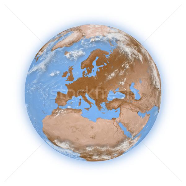 Europa planeta terra azul isolado branco Foto stock © Harlekino