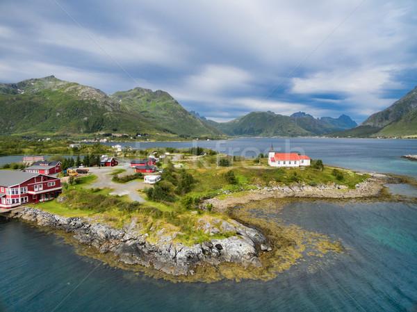 Szigetek légifelvétel turistaövezet templom Norvégia keresztény Stock fotó © Harlekino