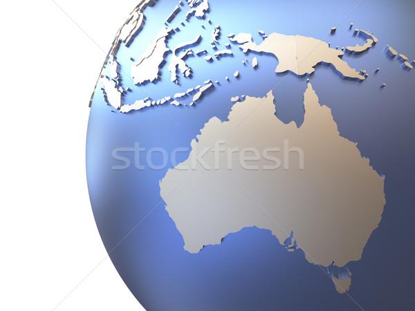 Australia on metallic Earth Stock photo © Harlekino