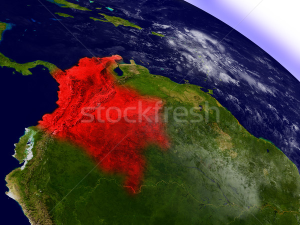 Colombia from space highlighted in red Stock photo © Harlekino