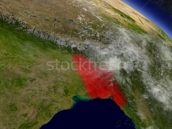 Bangladeş uzay kırmızı yörünge 3d illustration Stok fotoğraf © Harlekino
