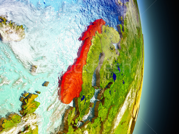 Norway in red from space Stock photo © Harlekino