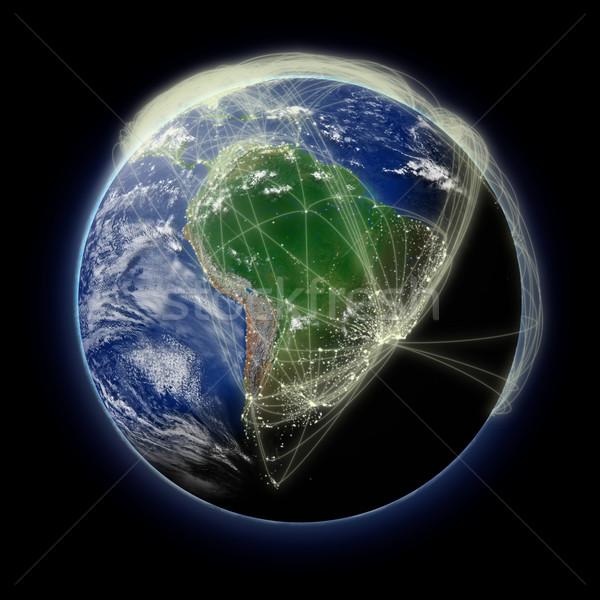 Hálózat dél-amerika repülés kék Föld izolált Stock fotó © Harlekino