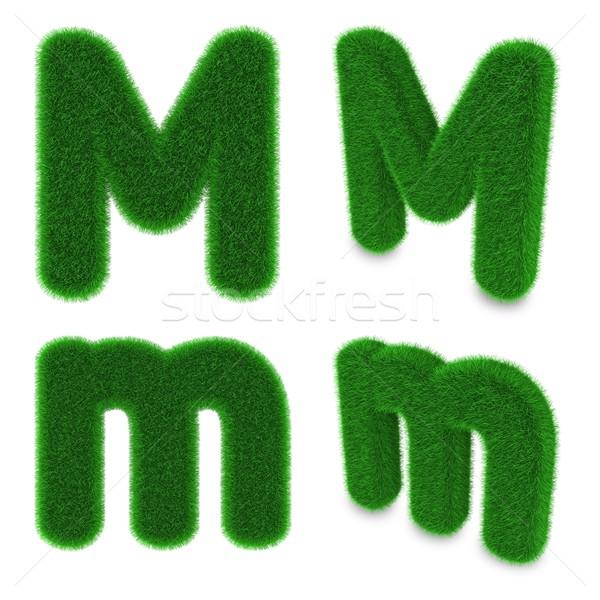 Mektup m çim kapalı yeşil ot yalıtılmış beyaz Stok fotoğraf © Harlekino