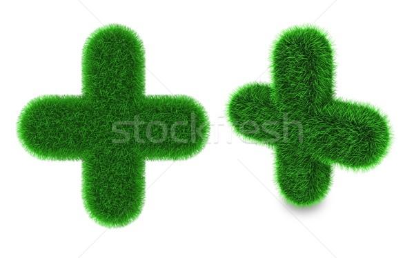 Pluszeichen Gras bedeckt grünen Gras isoliert weiß Stock foto © Harlekino