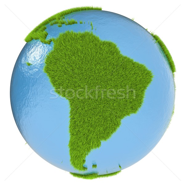 Ameryka południowa zielone planety pokryty trawy odizolowany Zdjęcia stock © Harlekino