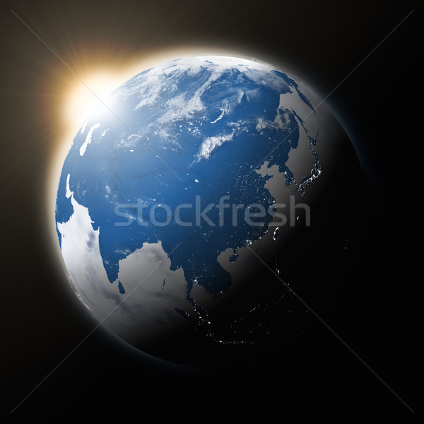 Stock photo: Sun over Southeast Asia on planet Earth