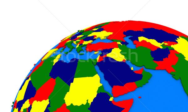 Közel-Kelet régió Föld politikai térkép földgömb Stock fotó © Harlekino