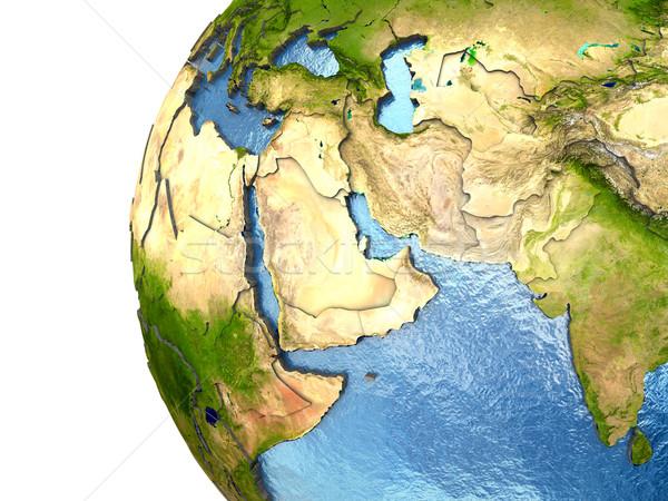 Közel-Kelet Föld rendkívül részletes Föld kontinensek Stock fotó © Harlekino