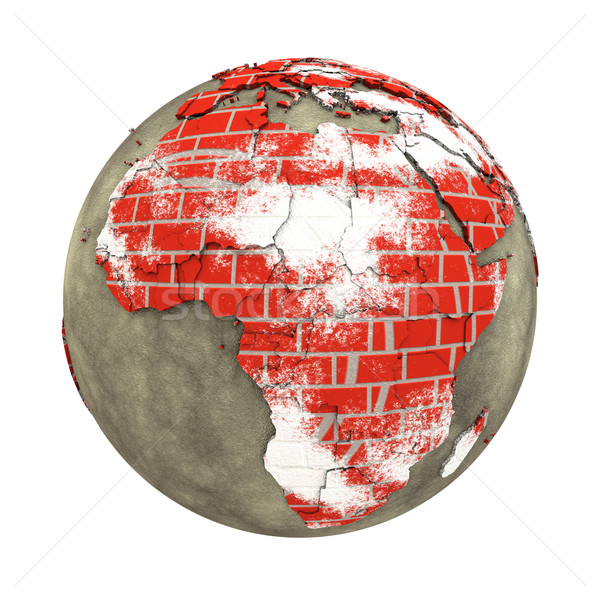 Африка кирпичная стена земле модель планете Земля Континенты Сток-фото © Harlekino