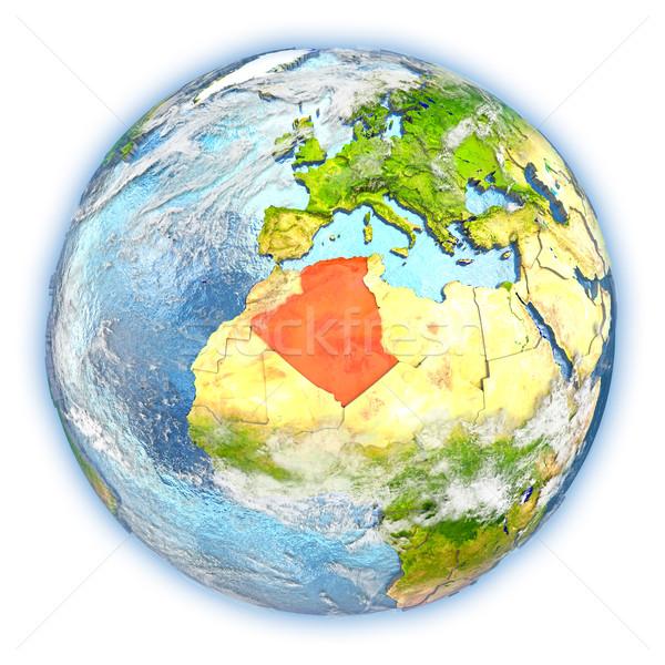 Argélia terra isolado vermelho planeta terra ilustração 3d Foto stock © Harlekino