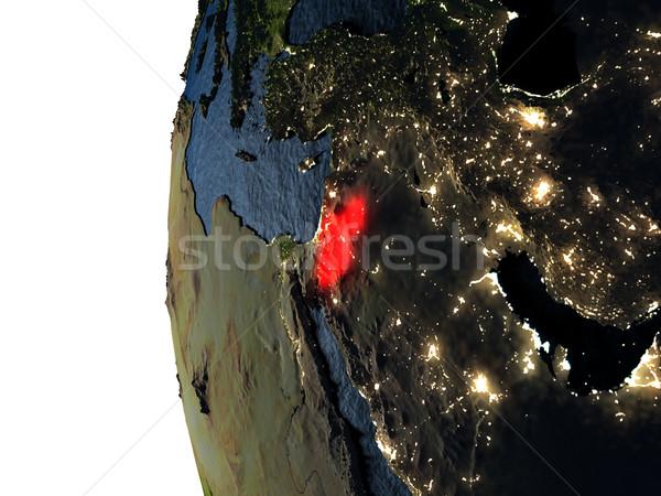Wygaśnięcia przestrzeni czerwony ziemi orbita 3d ilustracji Zdjęcia stock © Harlekino