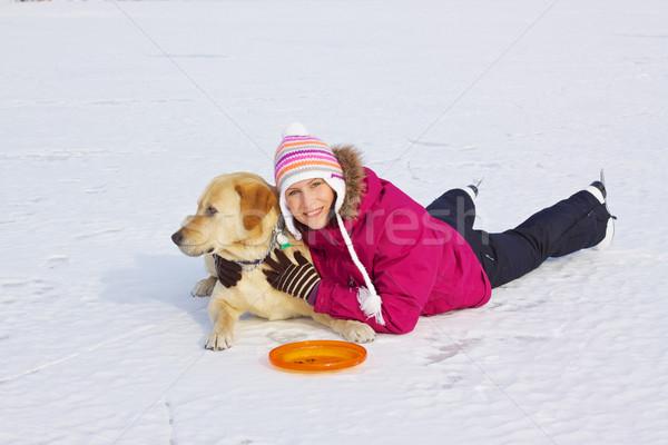 Stock foto: Mädchen · posiert · Hund · schönen · junge · Mädchen · Eis