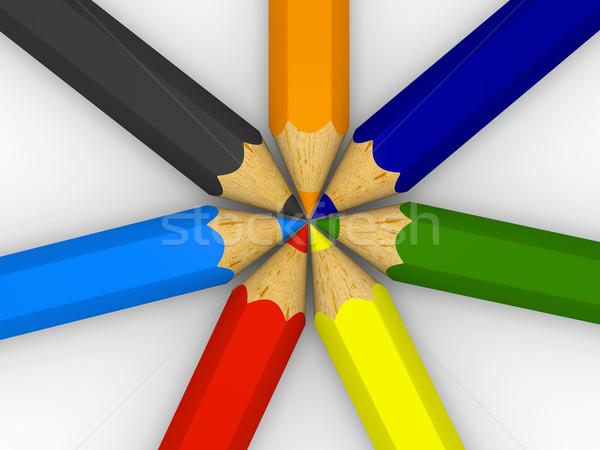 Centered color pencils Stock photo © Harlekino