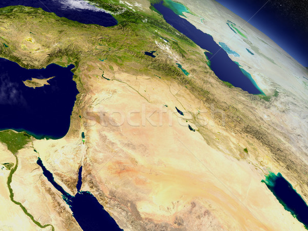 Israel, Lebanon, Jordan, Syria and Iraq region from space Stock photo © Harlekino